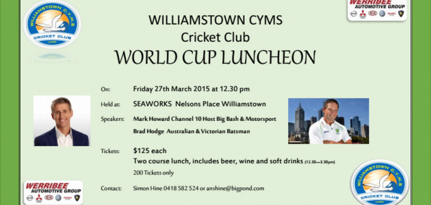 Williamstown CYMS Cricket Club Luncheon